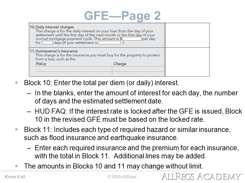 GFE—Page 2  Block 10: Enter the total per diem (or daily) interest.