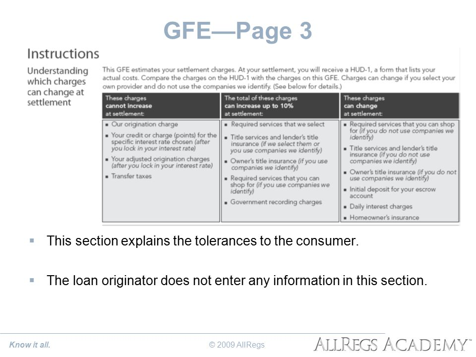 GFE—Page 3  This section explains the tolerances to the consumer.