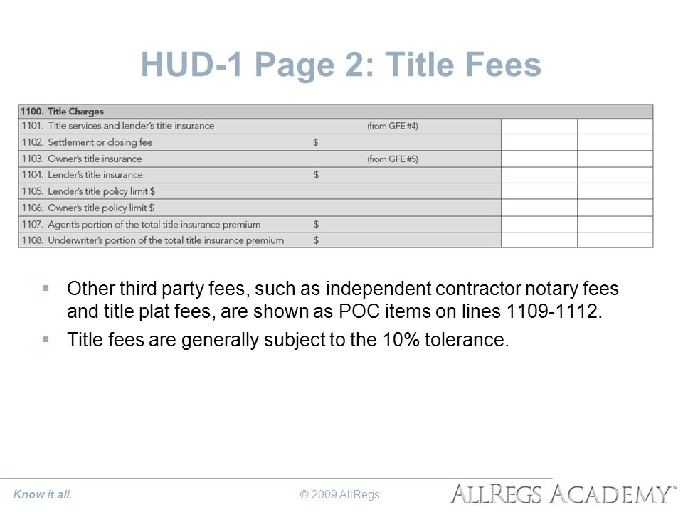 HUD-1 Page 2: Title Fees  Other third party fees, such as independent contractor notary fees and title plat fees, are shown as POC items on lines 1109-1112.