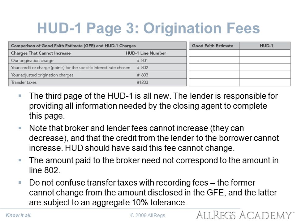 HUD-1 Page 3: Origination Fees  The third page of the HUD-1 is all new.