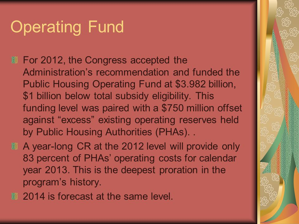 Operating Fund For 2012, the Congress accepted the Administration's recommendation and funded the Public Housing Operating Fund at $3.982 billion, $1 billion below total subsidy eligibility.