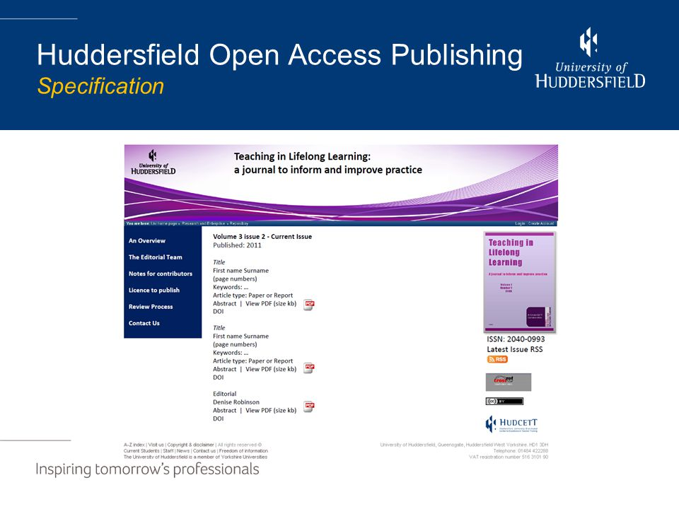 Huddersfield Open Access Publishing Specification