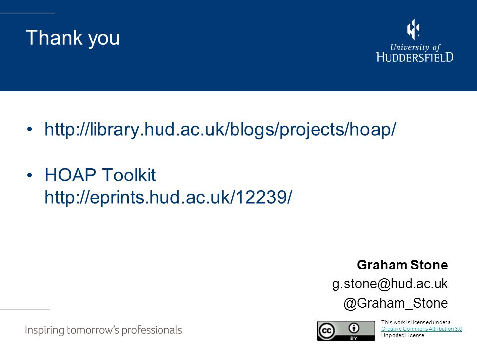 Thank you http://library.hud.ac.uk/blogs/projects/hoap/ HOAP Toolkit http://eprints.hud.ac.uk/12239/ Graham Stone g.stone@hud.ac.uk @Graham_Stone This
