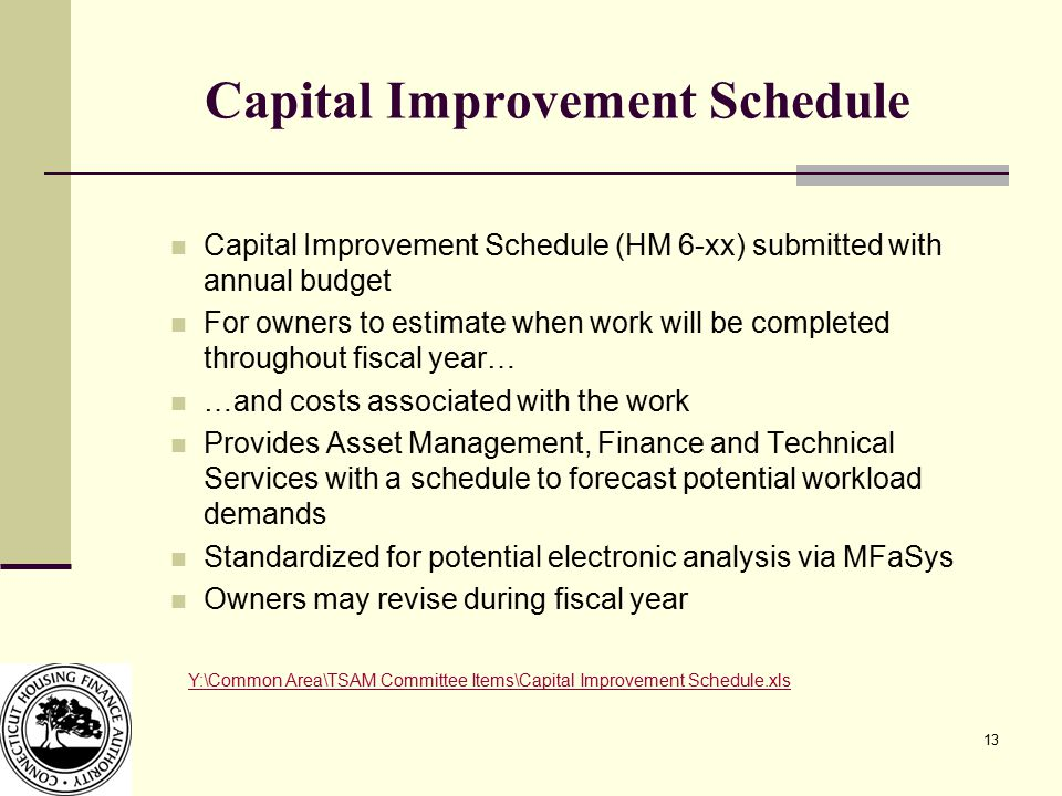13 Capital Improvement Schedule Capital Improvement Schedule (HM 6-xx) submitted with annual budget For owners to estimate when work will be completed throughout fiscal year… …and costs associated with the work Provides Asset Management, Finance and Technical Services with a schedule to forecast potential workload demands Standardized for potential electronic analysis via MFaSys Owners may revise during fiscal year Y:\Common Area\TSAM Committee Items\Capital Improvement Schedule.xls