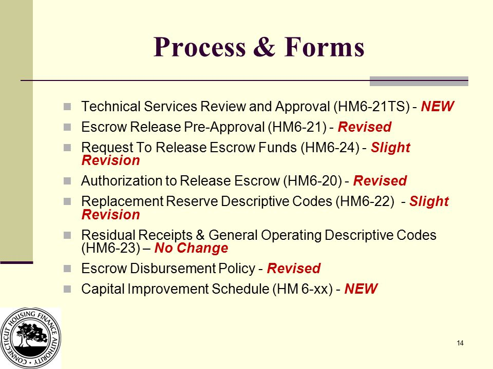 14 Process & Forms Technical Services Review and Approval (HM6-21TS) - NEW Escrow Release Pre-Approval (HM6-21) - Revised Request To Release Escrow Fu