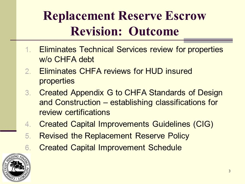 3 Replacement Reserve Escrow Revision: Outcome 1.