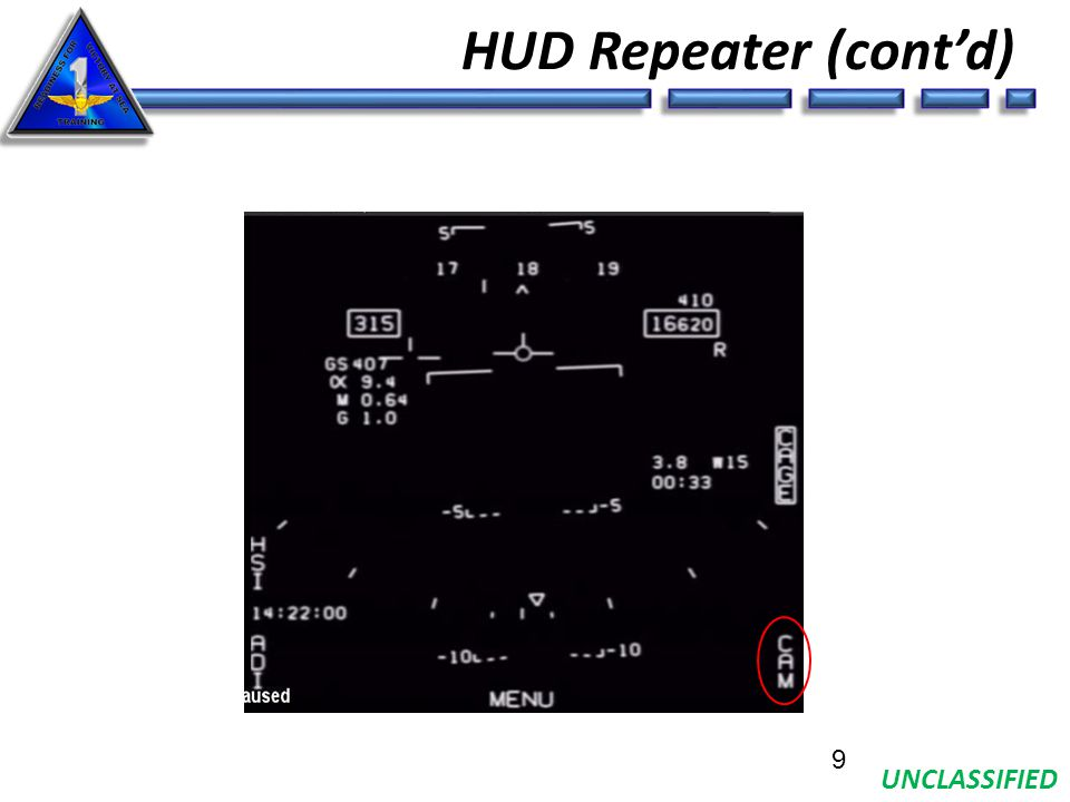 UNCLASSIFIED HUD Repeater (cont'd) 9