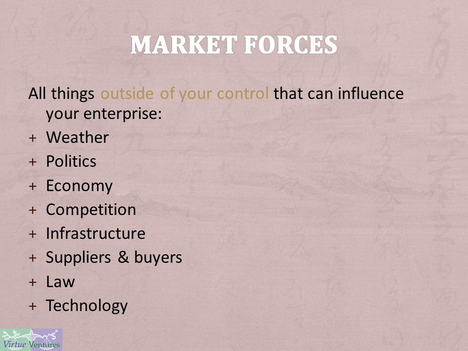 All things outside of your control that can influence your enterprise: + Weather + Politics + Economy + Competition + Infrastructure + Suppliers & buy