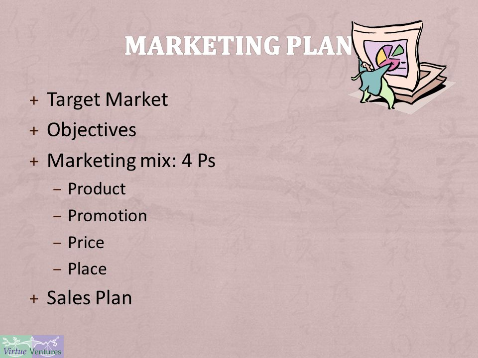 + Target Market + Objectives + Marketing mix: 4 Ps – Product – Promotion – Price – Place + Sales Plan