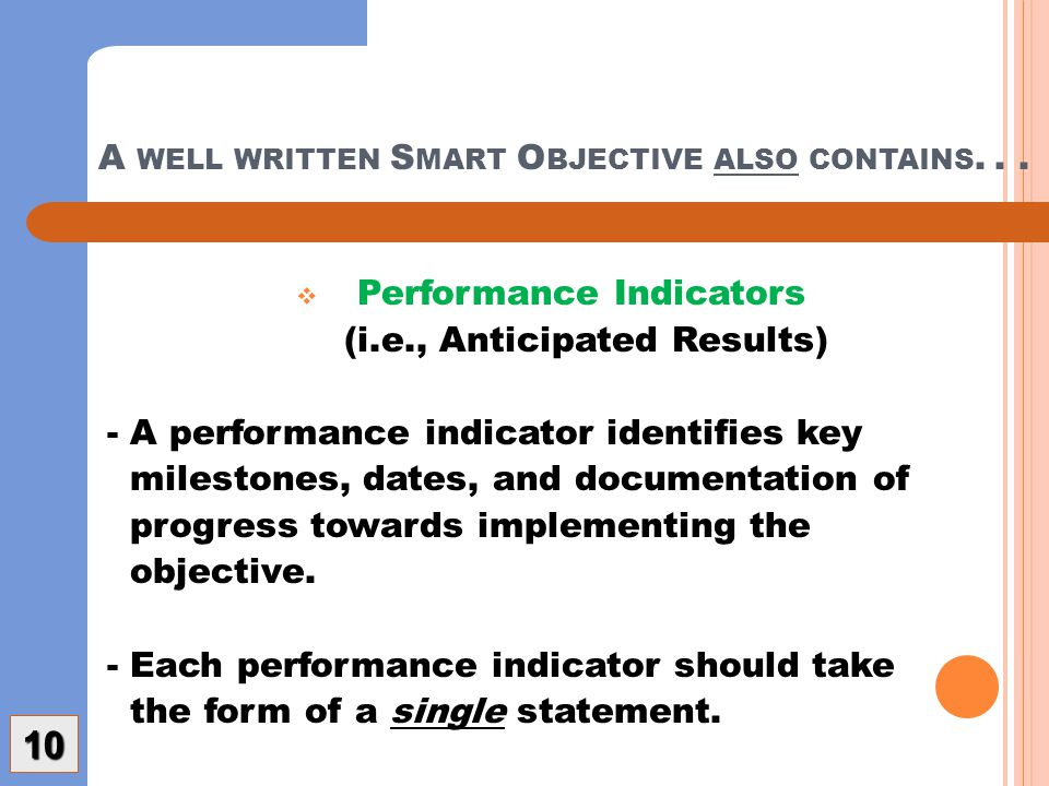 A WELL WRITTEN S MART O BJECTIVE ALSO CONTAINS...