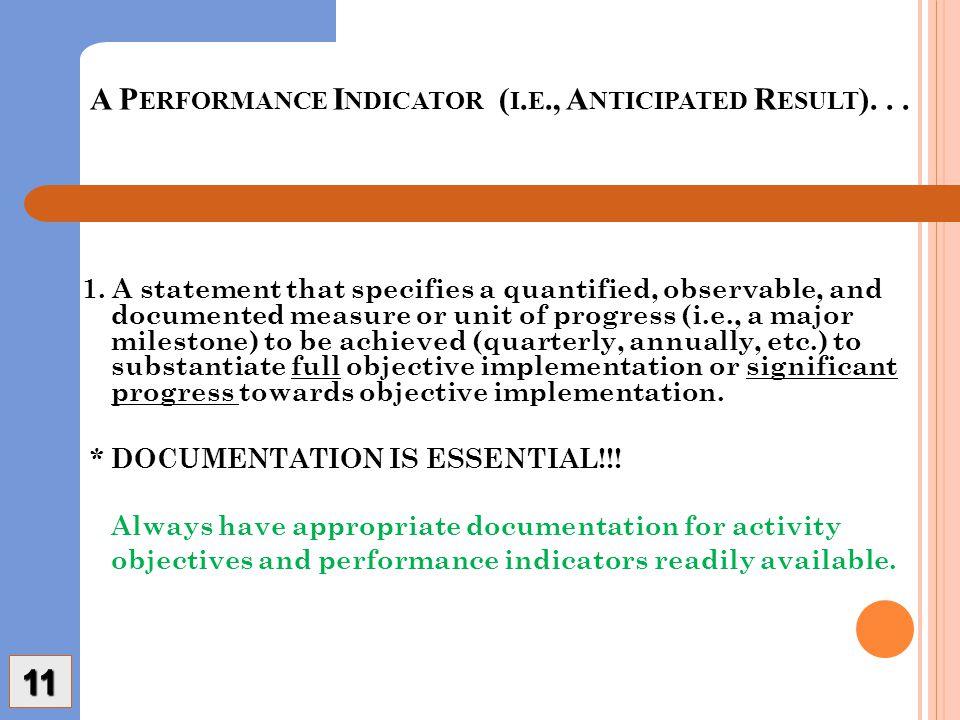 A P ERFORMANCE I NDICATOR ( I. E., A NTICIPATED R ESULT )...