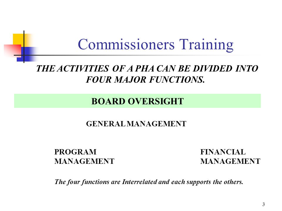 2 Board of Commissioners Training Series I. The Commissioner's Role II.