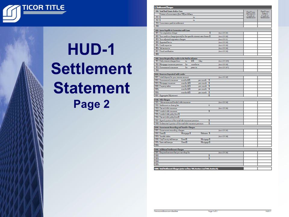HUD-1 Settlement Statement 800 Section