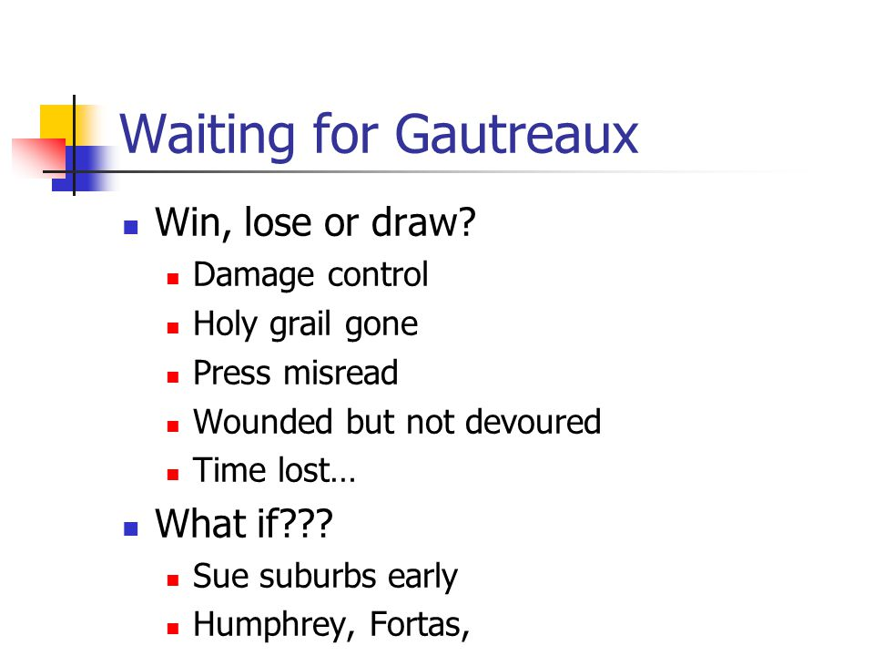 Waiting for Gautreaux Win, lose or draw? Damage control Holy grail gone Press misread Wounded but not devoured Time lost… What if??? Sue suburbs early