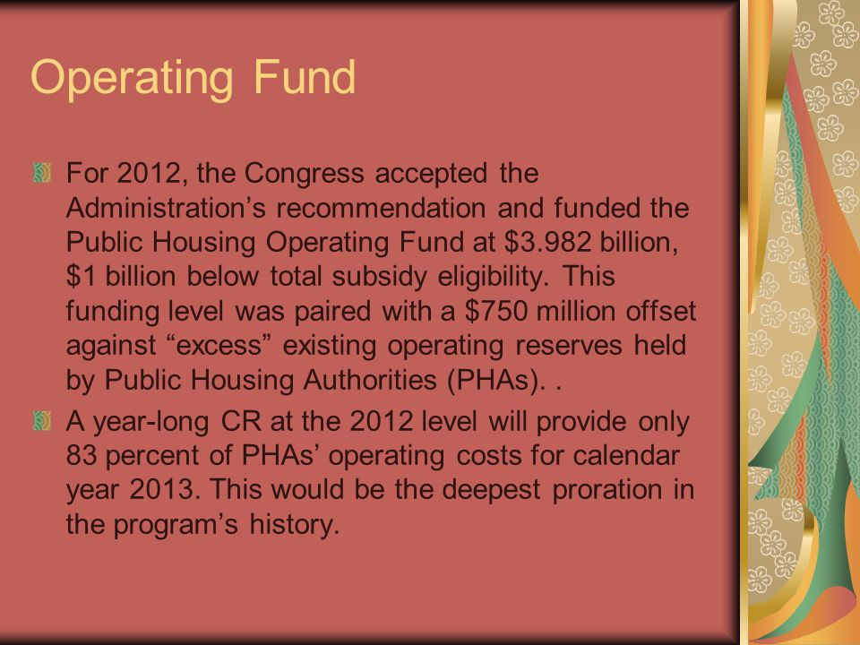 Operating Fund For 2012, the Congress accepted the Administration's recommendation and funded the Public Housing Operating Fund at $3.982 billion, $1