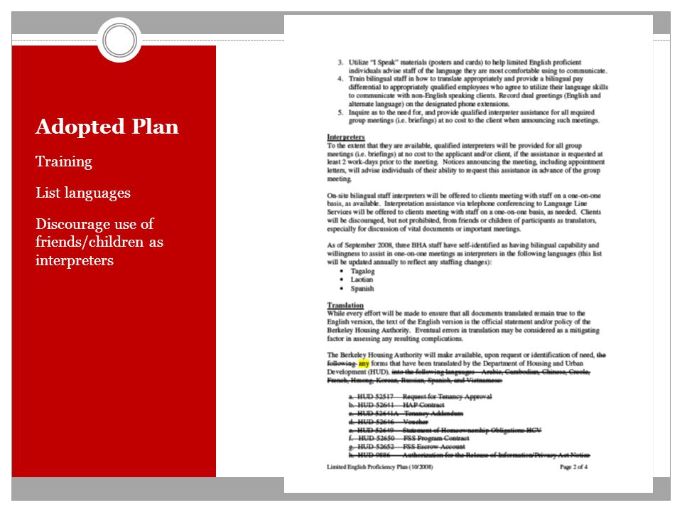 Adopted Plan Training List languages Discourage use of friends/children as interpreters