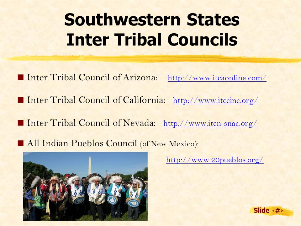 Slide 20 Southwestern States Inter Tribal Councils  Inter Tribal Council of Arizona: http://www.itcaonline.com/  Inter Tribal Council of California: http://www.itccinc.org/  Inter Tribal Council of Nevada: http://www.itcn-snac.org/  All Indian Pueblos Council (of New Mexico): http://www.20pueblos.org/