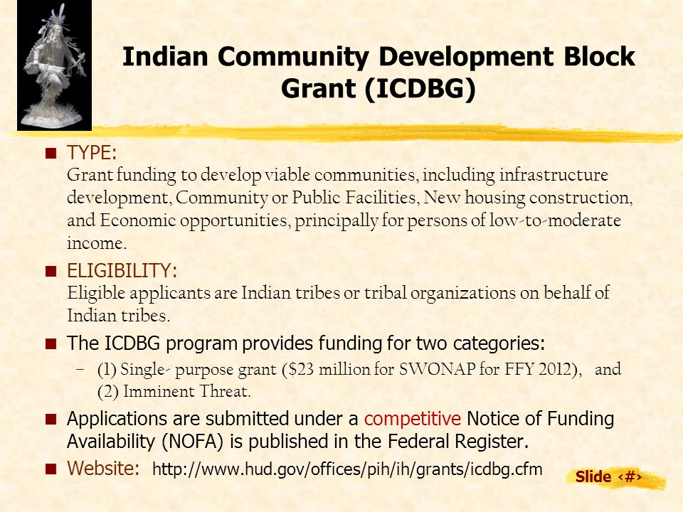 Slide 9 Indian Community Development Block Grant (ICDBG)  TYPE: Grant funding to develop viable communities, including infrastructure development, Community or Public Facilities, New housing construction, and Economic opportunities, principally for persons of low-to-moderate income.
