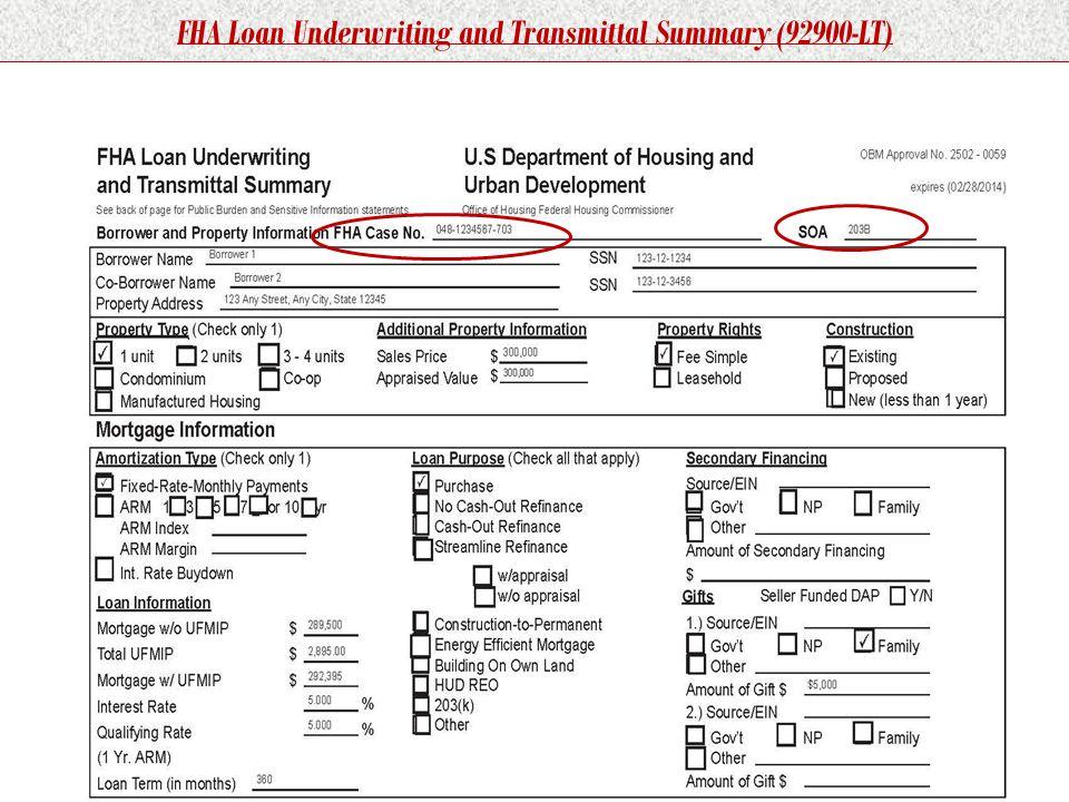 FHA Loan Underwriting and Transmittal Summary (92900-LT)