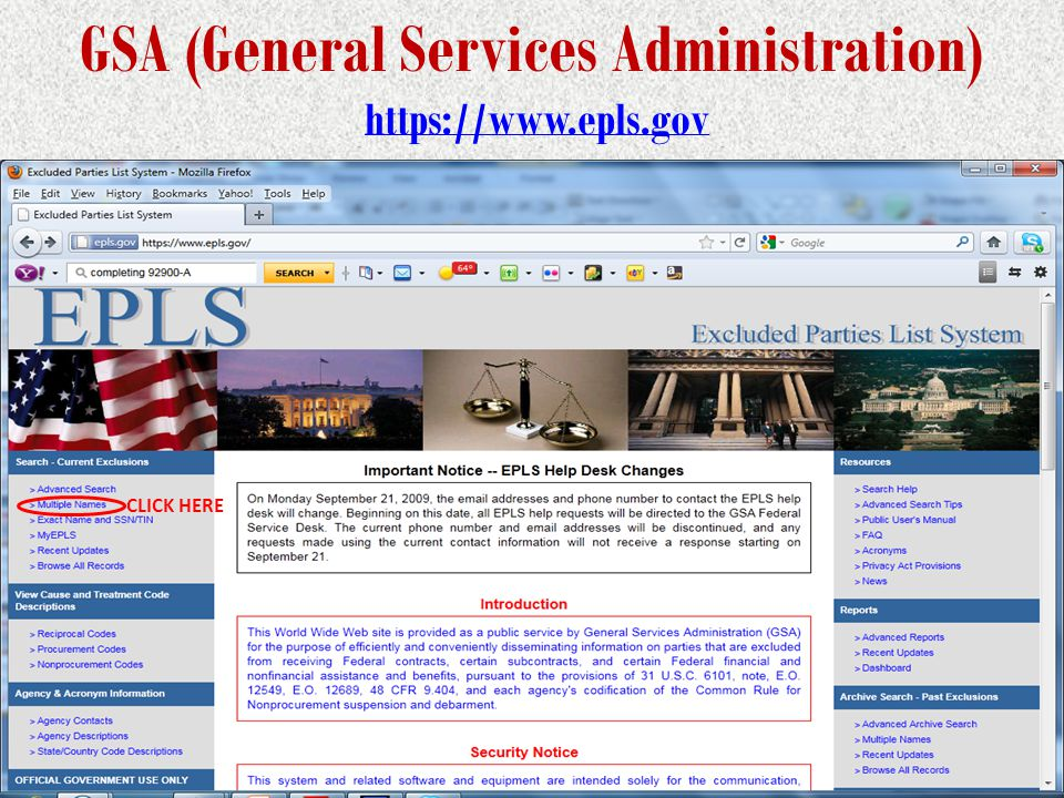 GSA (General Services Administration) https://www.epls.govhttps://www.epls.gov Example of a cleared LDP CLICK HERE