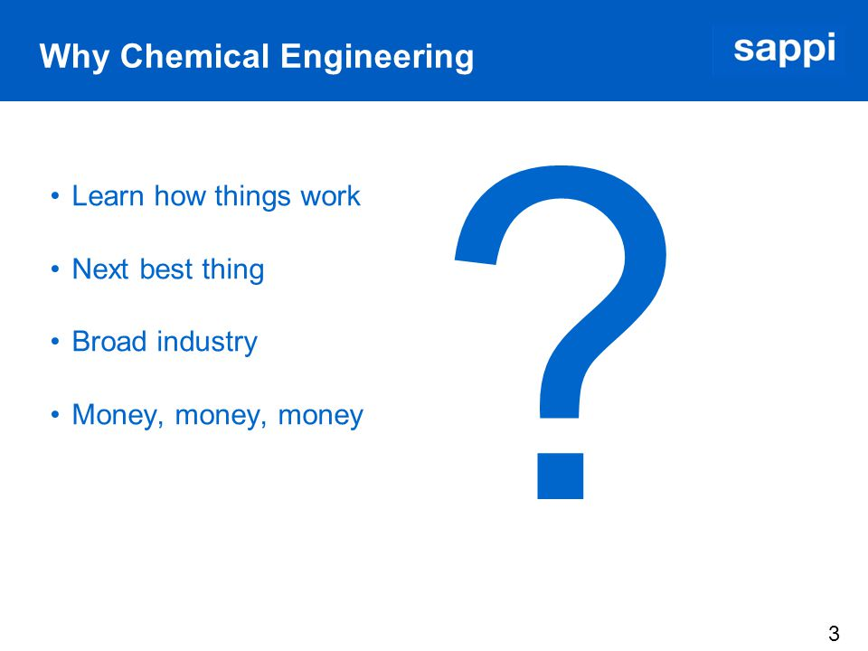 4 Challenges Placement for in-service training Student life vs working life Becoming accustomed to the Sappi way – homo sappi an The real world is a harsh world How does Chemical Engineering fit into the Pulp and Paper Industry Limited pulp and paper knowledge Applying theoretical knowledge Safety first