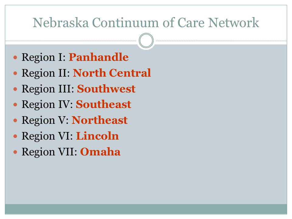 Nebraska Continuum of Care Network Region I: Panhandle Region II: North Central Region III: Southwest Region IV: Southeast Region V: Northeast Region VI: Lincoln Region VII: Omaha