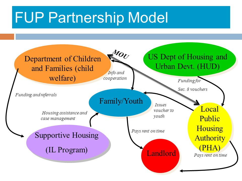 FUP Partnership Model Department of Children and Families (child welfare) Supportive Housing (IL Program) US Dept of Housing and Urban Devt. (HUD) Loc