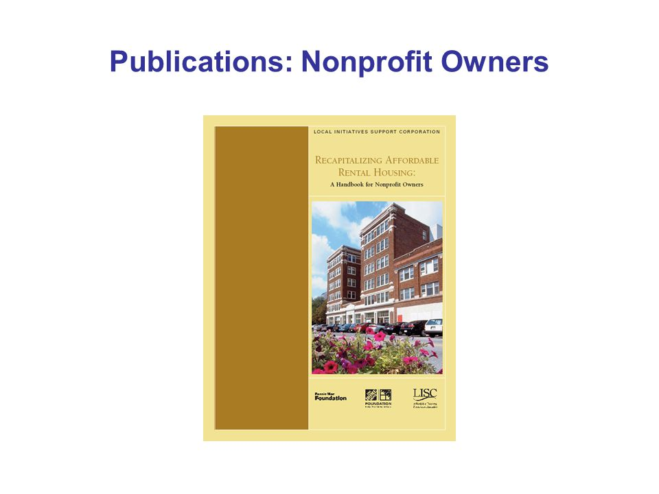 Publications: Nonprofit Owners