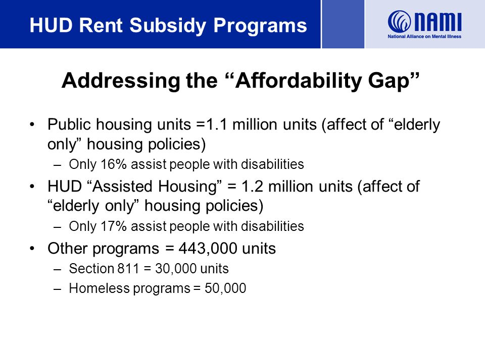 Public housing units =1.1 million units (affect of elderly only housing policies) –Only 16% assist people with disabilities HUD Assisted Housing = 1.2 million units (affect of elderly only housing policies) –Only 17% assist people with disabilities Other programs = 443,000 units –Section 811 = 30,000 units –Homeless programs = 50,000 HUD Rent Subsidy Programs Addressing the Affordability Gap