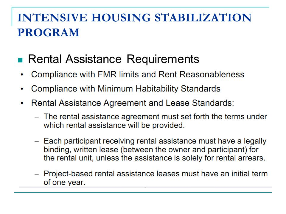 INTENSIVE HOUSING STABILIZATION PROGRAM Rental Assistance Requirements