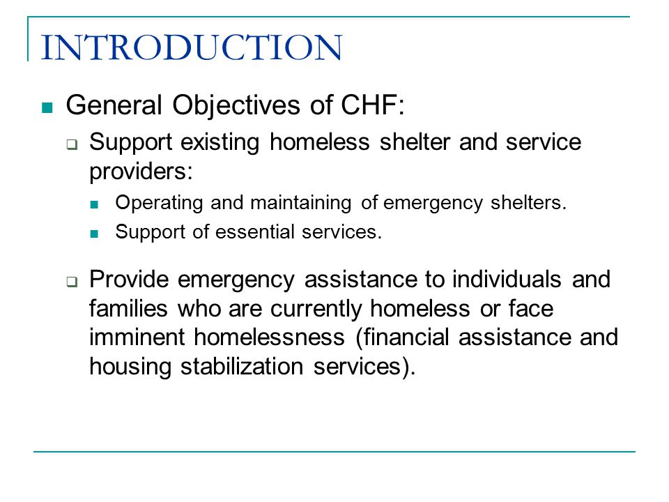INTRODUCTION General Objectives of CHF:  Support existing homeless shelter and service providers: Operating and maintaining of emergency shelters.