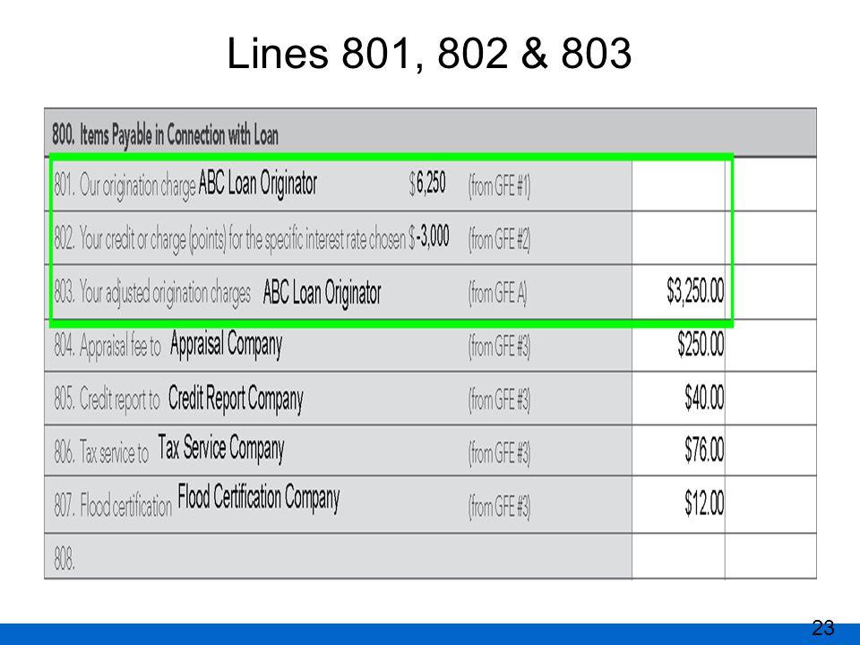 Lines 801, 802 & 803 23