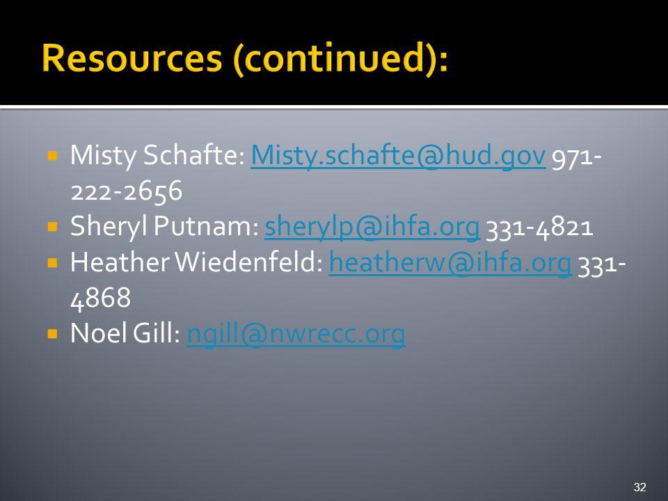  Misty Schafte: Misty.schafte@hud.gov 971- 222-2656Misty.schafte@hud.gov  Sheryl Putnam: sherylp@ihfa.org 331-4821sherylp@ihfa.org  Heather Wiedenf