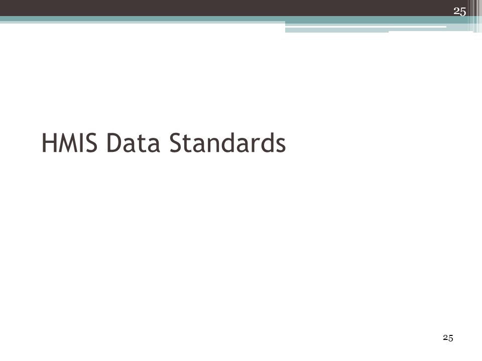 25 HMIS Data Standards