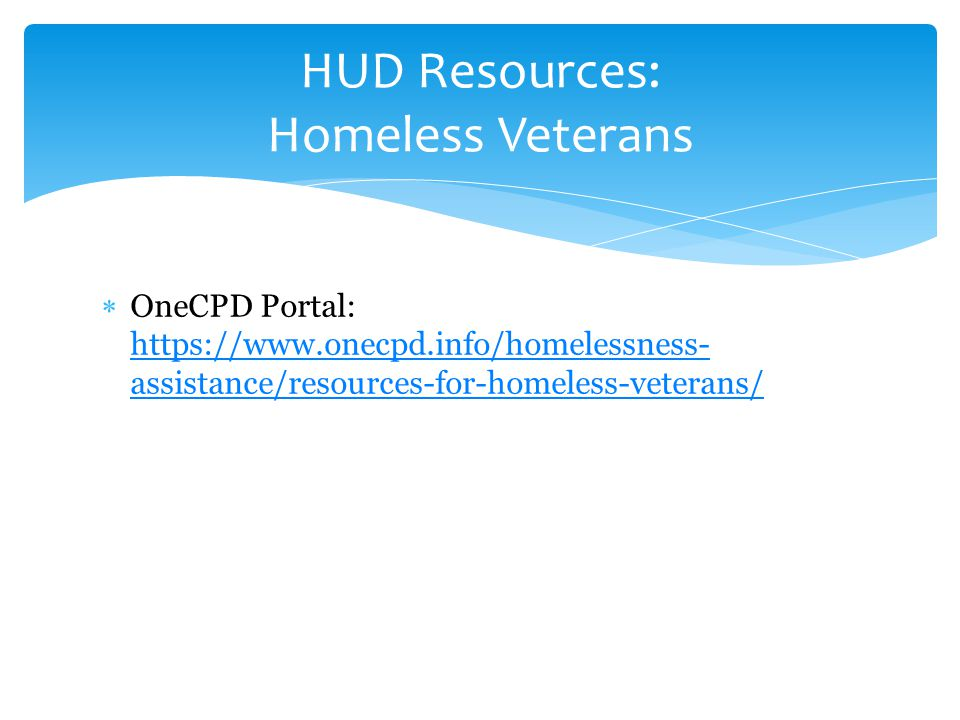  OneCPD Portal: https://www.onecpd.info/homelessness- assistance/resources-for-homeless-veterans/ https://www.onecpd.info/homelessness- assistance/re
