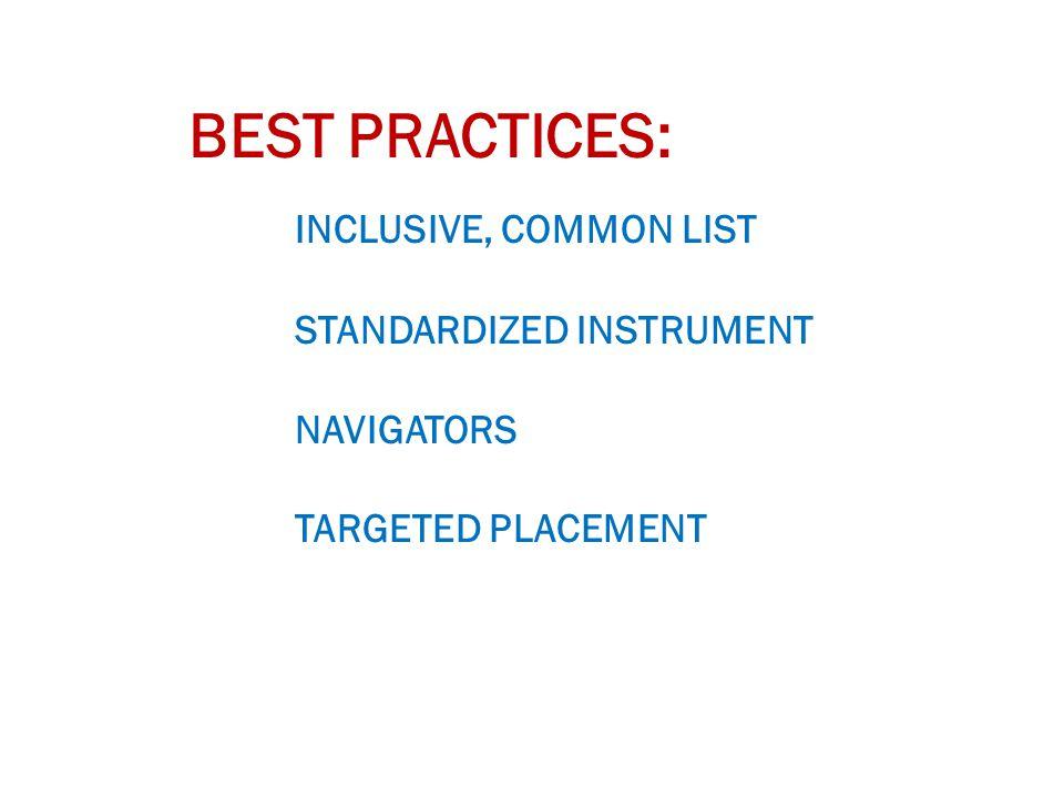 BEST PRACTICES: INCLUSIVE, COMMON LIST STANDARDIZED INSTRUMENT NAVIGATORS TARGETED PLACEMENT