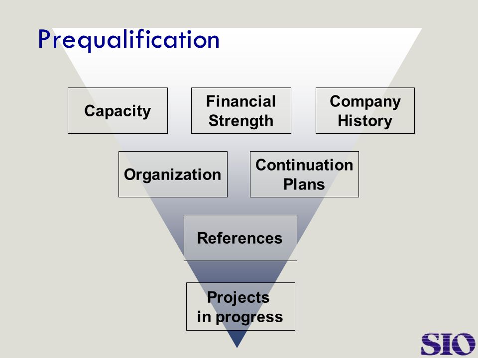 Capacity Financial Strength Company History Organization Continuation Plans References Projects in progress Prequalification