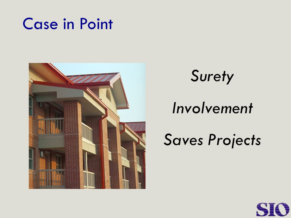Case in Point Surety Involvement Saves Projects