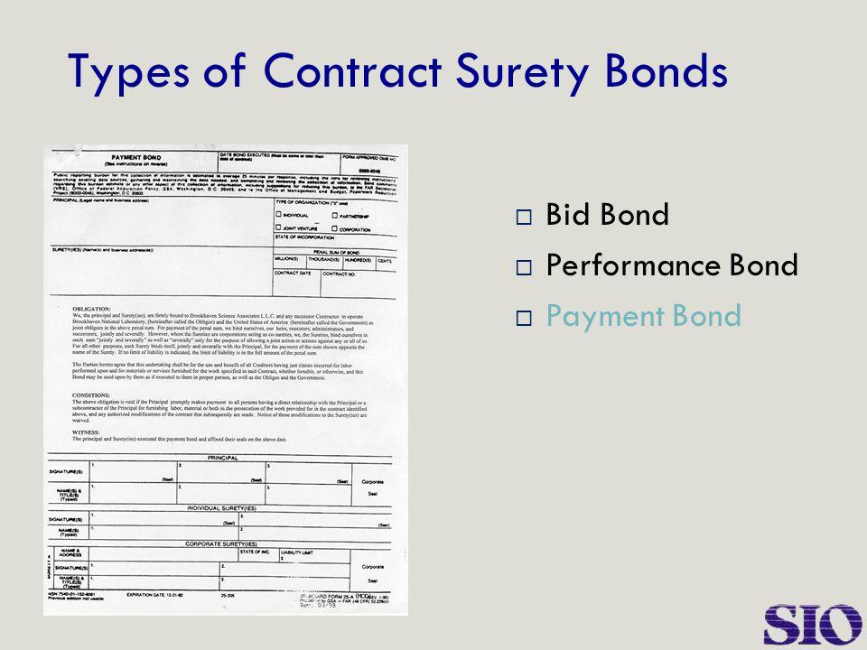 Types of Contract Surety Bonds  Bid Bond  Performance Bond  Payment Bond