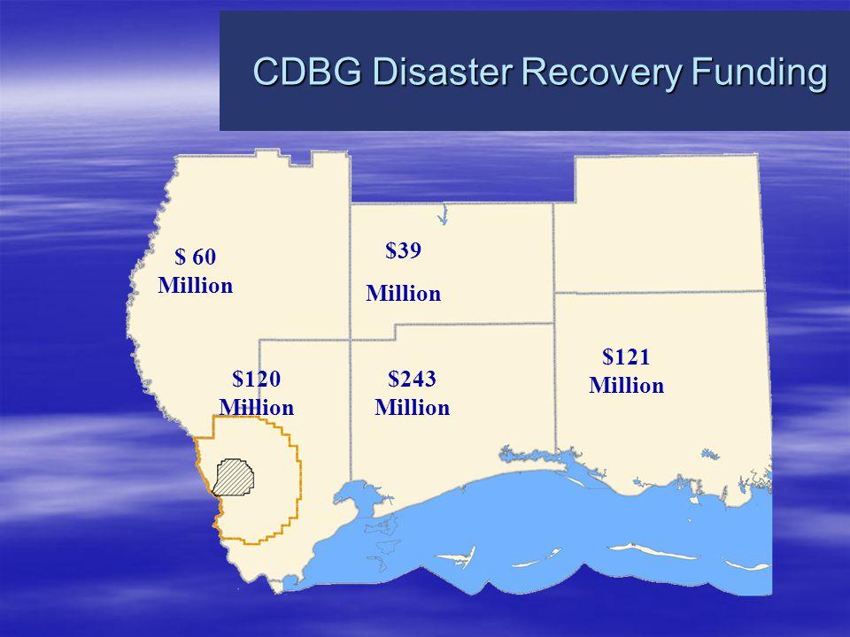 CDBG Disaster Recovery Funding CDBG Disaster Recovery Funding $ 60 Million $39 Million $120 Million $243 Million $121 Million