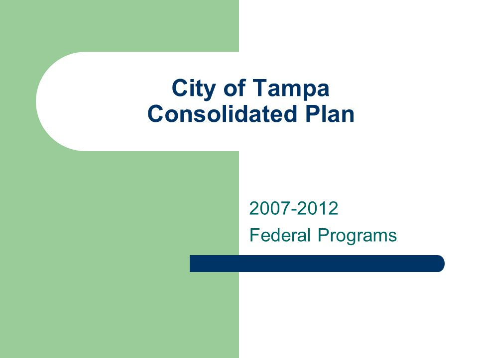 City of Tampa Consolidated Plan 2007-2012 Federal Programs