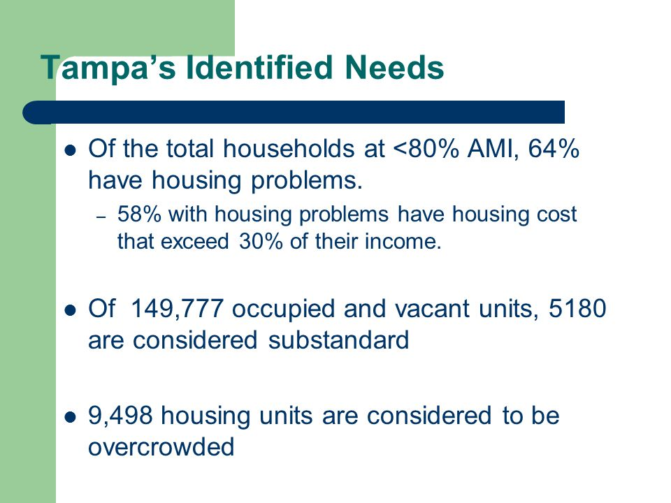 Tampa's Identified Needs A gap of 5,433 shelter/housing units exists for homeless individuals and families.
