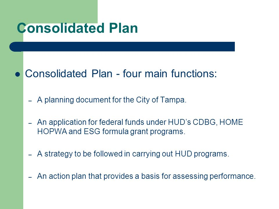 Action Plan The City's One Year Action Plan contains project specific and activity based projected use of federal funds for a specific program year.