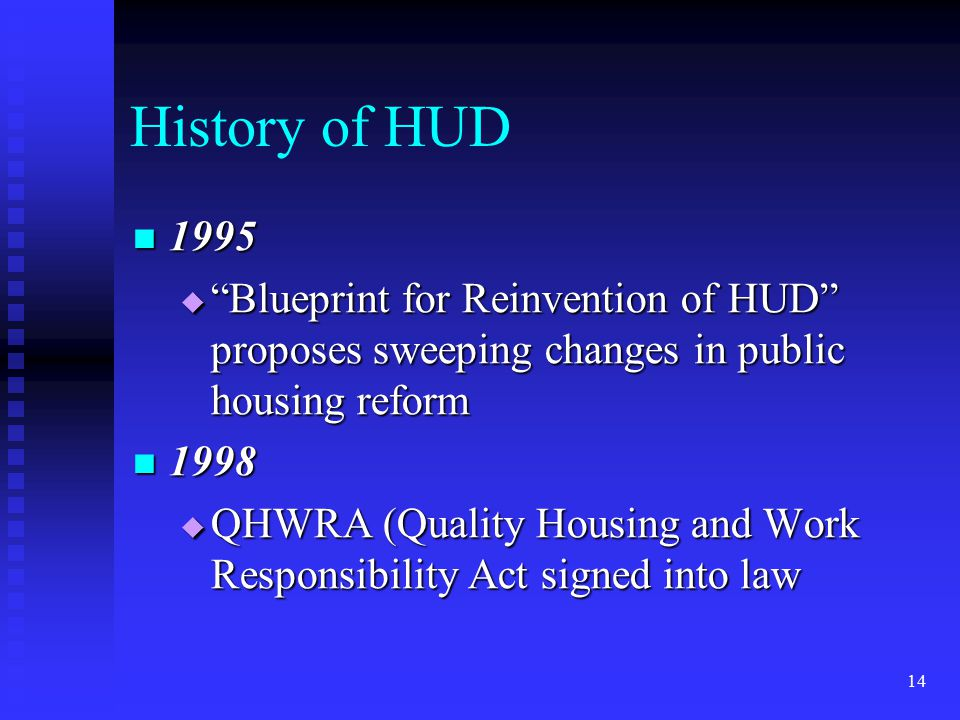 14 History of HUD 1995 1995  Blueprint for Reinvention of HUD proposes sweeping changes in public housing reform 1998 1998  QHWRA (Quality Housing and Work Responsibility Act signed into law