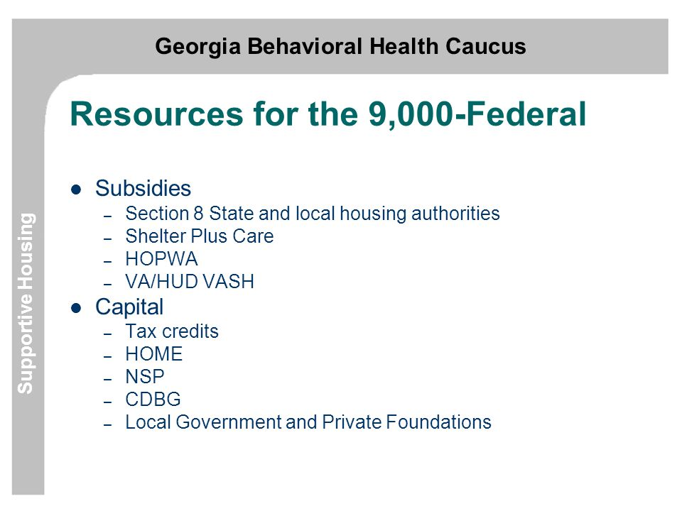 Georgia Behavioral Health Caucus Supportive Housing Resources for the 9,000-Federal Subsidies – Section 8 State and local housing authorities – Shelter Plus Care – HOPWA – VA/HUD VASH Capital – Tax credits – HOME – NSP – CDBG – Local Government and Private Foundations