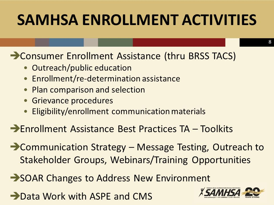SAMHSA ENROLLMENT ACTIVITIES  Consumer Enrollment Assistance (thru BRSS TACS) Outreach/public education Enrollment/re-determination assistance Plan comparison and selection Grievance procedures Eligibility/enrollment communication materials  Enrollment Assistance Best Practices TA – Toolkits  Communication Strategy – Message Testing, Outreach to Stakeholder Groups, Webinars/Training Opportunities  SOAR Changes to Address New Environment  Data Work with ASPE and CMS 8