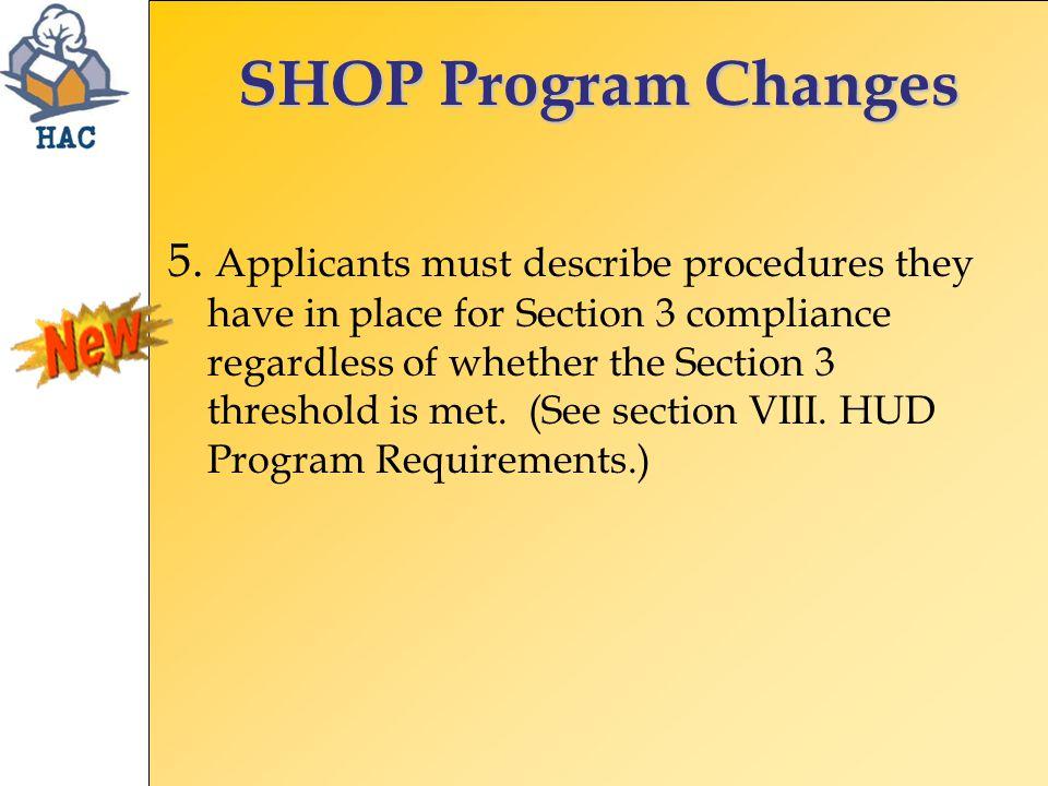 SHOP Program Changes 5.