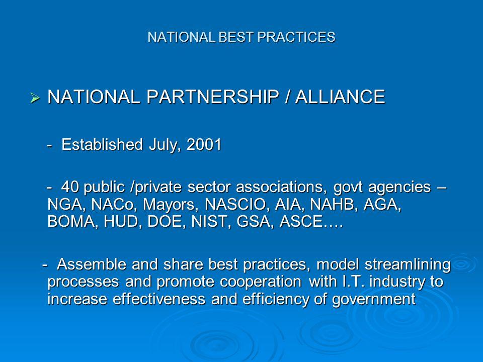 NATIONAL BEST PRACTICES  NATIONAL PARTNERSHIP / ALLIANCE - Established July, 2001 - Established July, 2001 - 40 public /private sector associations, govt agencies – NGA, NACo, Mayors, NASCIO, AIA, NAHB, AGA, BOMA, HUD, DOE, NIST, GSA, ASCE….
