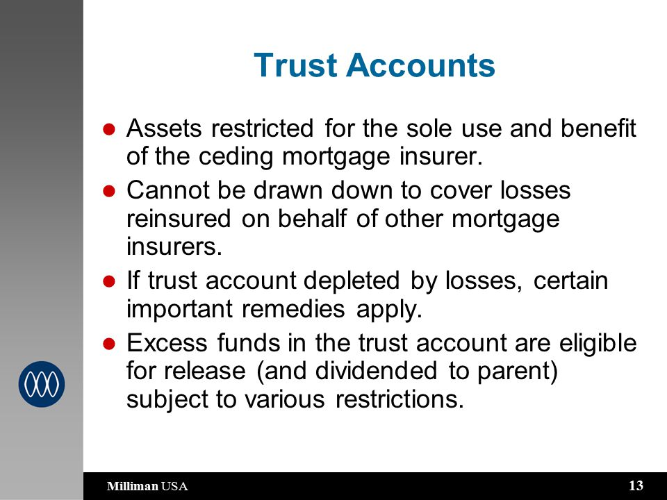 Milliman USA 13 Trust Accounts Assets restricted for the sole use and benefit of the ceding mortgage insurer.