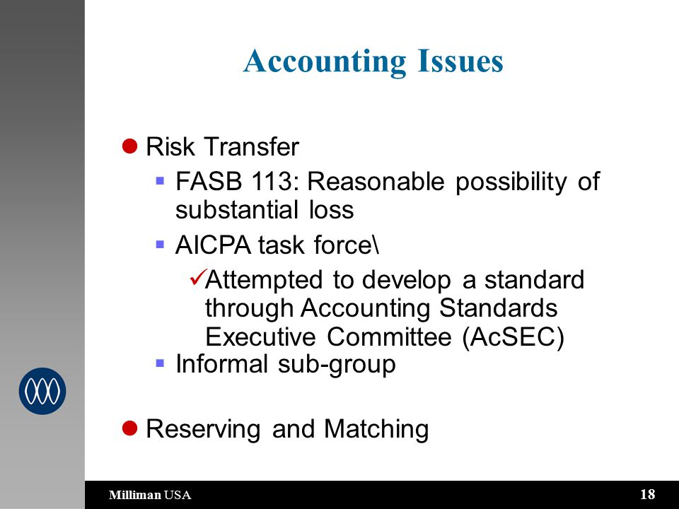 Milliman USA 18 Risk Transfer  FASB 113: Reasonable possibility of substantial loss  AICPA task force\ Attempted to develop a standard through Accounting Standards Executive Committee (AcSEC)  Informal sub-group Reserving and Matching Accounting Issues